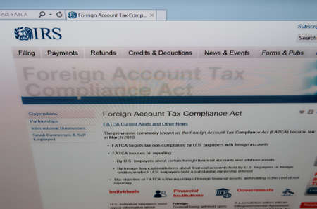 taxpayers: SARANSK, RUSSIA - JUNE 27 2015: The official website of the Internal Revenue ServiceIRS, page Foreign Account Tax Compliance Act, on 27 June 2015. Editorial