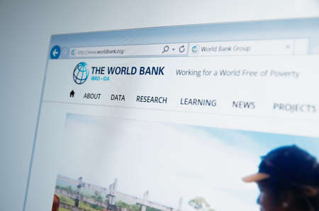 developing country: Saransk, Russia - CIRCA, 2015: A computer screen shows details of World Bank Group main page on its web site