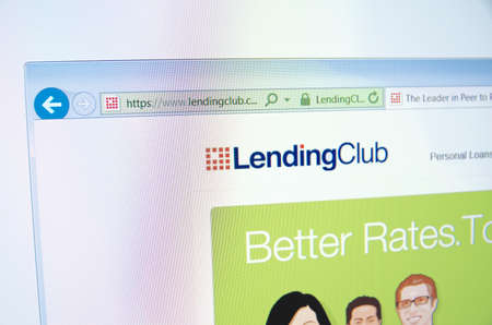 Saransk, Russia - November 17, 2015: A computer screen shows details of LendingClub main page on its web site in Saransk, Russia, on November 17 2015. Selective focus.