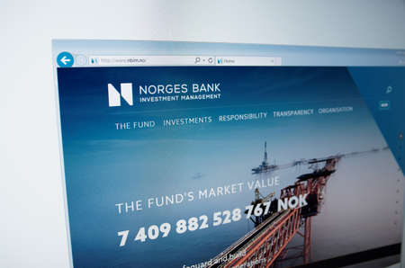 financial official: Saransk, Russia - November 08, 2015: A computer screen shows details of Norges Bank main page on its web site in Saransk, Russia, on November 08 2015. Selective focus.