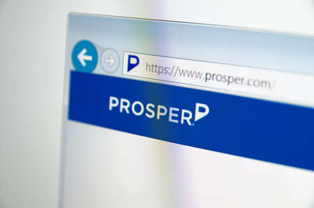 prosper: Saransk, Russia - November 17, 2015: A computer screen shows details of Prosper main page on its web site in Saransk, Russia, on November 17 2015. Selective focus.