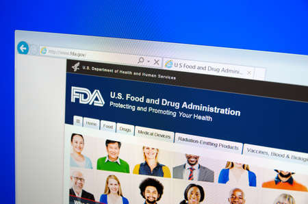 Saransk, Russia - December 12, 2015: A computer screen shows details of Food and Drug Administration FDA or USFDA main page on its web site in Saransk, Russia, on December 12 2015. Selective focus.