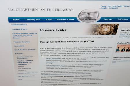 taxpayers: SARANSK, RUSSIA - JUNE 27 2015: The official website of the U.S. Department of the Treasury, page Foreign Account Tax Compliance Act(FATCA), on 27 June 2015. Editorial