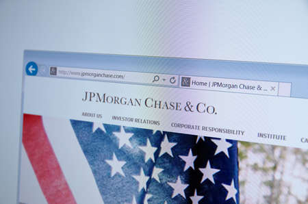 financial official: Saransk, Russia - CIRCA, 2015: A computer screen shows details of JPMorgan Chase & Co. main page on its web site