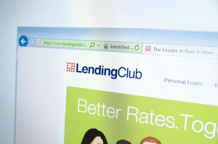 financial official: Saransk, Russia - November 17, 2015: A computer screen shows details of LendingClub main page on its web site
