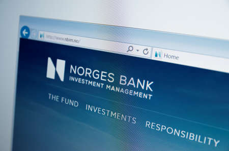 financial stability: Saransk, Russia - CIRCA, 2015: A computer screen shows details of Norges Bank main page on its web site