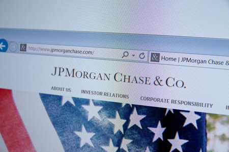 chase: Saransk, Russia - CIRCA, 2015: A computer screen shows details of JPMorgan Chase & Co. main page on its web site