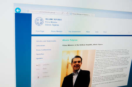 the prime minister: Saransk, Russia - CIRCA, 2015: A computer screen shows details of Prime Minister of Greece main page on its web site Editorial