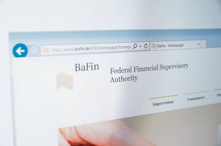 supervisory: Saransk, Russia - CIRCA, 2015: A computer screen shows details of Federal Financial Supervisory Authority (BaFin) main page on its web site