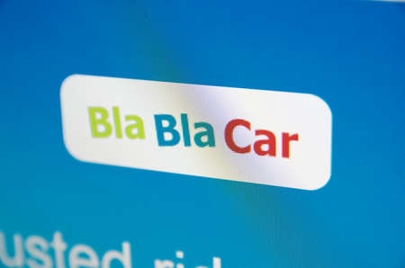 Saransk, Russia - November 17, 2015: A computer screen shows details of Bla Bla Car main page on its web site