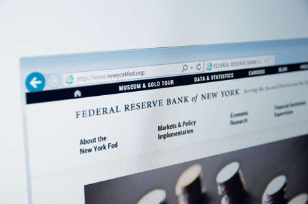 federal reserve: Saransk, Russia - CIRCA, 2015: A computer screen shows details of Federal Reserve Bank of New York main page on its web site
