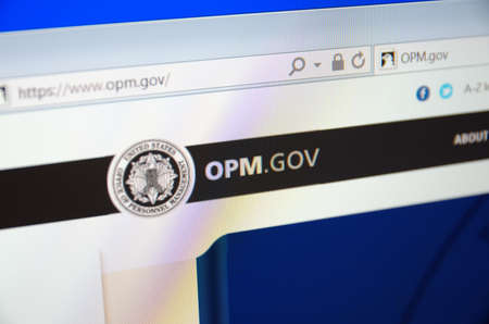 financial official: Saransk, Russia - CIRCA, 2015: A computer screen shows details of The United States Office of Personnel Management main page on its web site