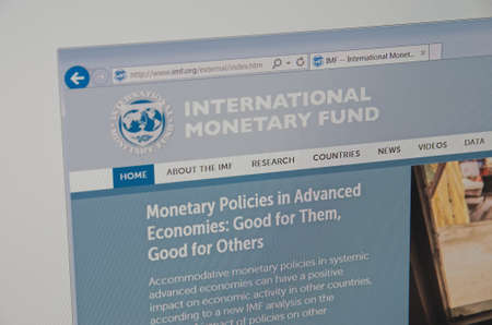 Saransk, Russia - CIRCA, 2015: A computer screen shows details of  International Monetary Fund (IMF) main page on its web site