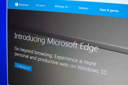 microsoft: Saransk, Russia - December 12, 2015: A computer screen shows details of Microsoft Edge Browser page on Microsoft web site