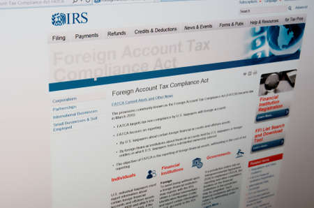 accounting logo: SARANSK, RUSSIA - JUNE 27 2015: The official website of the Internal Revenue Service(IRS), page Foreign Account Tax Compliance Act, on 27 June 2015. Editorial