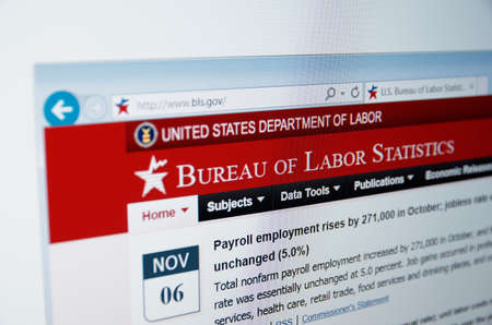 Saransk, Russia - CIRCA, 2015: A computer screen shows details of Bureau of Labor Statistics main page on its web site