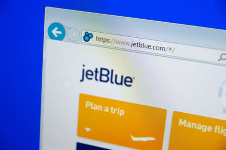 jetblue: Saransk, Russia - CIRCA, 2015: A computer screen shows details of JetBlue main page on its web site
