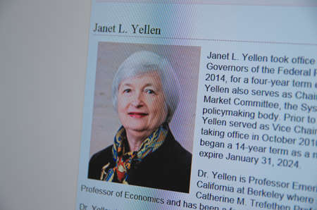 Saransk, Russia - CIRCA, 2015: A computer screen shows details of Janet L. Yellen page on Federal Reserve web site