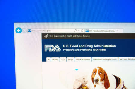fda: Saransk, Russia - December 12, 2015: A computer screen shows details of Food and Drug Administration FDA or USFDA main page on its web site in Saransk, Russia, on December 12 2015. Selective focus.