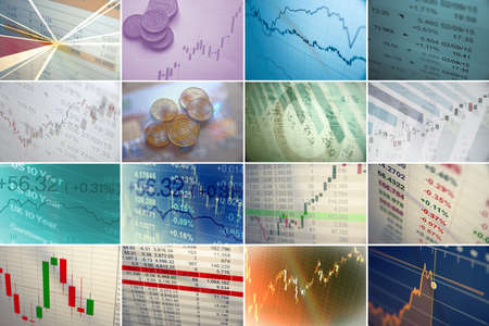 stock quotes: Collage of financial and business charts and graphs