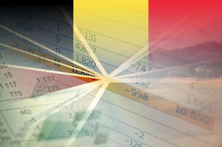 belgium: Belgium economy concept - Financial data on Belgium flag