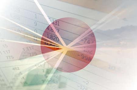 economy concept: Japan economy concept - Financial data on Japan flag