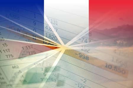 France economy concept - Financial data on France flag