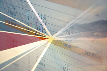 financial statement: Global business concept.Center of pie diagram and financial statement.