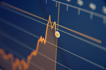 stock image: Stock market chart on LCD screen. Selective focus.
