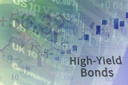 multiple exposure: Inscription High-Yield Bonds on PC screen. Close-up computer screen with financial data. Multiple exposure photo. Stock Photo