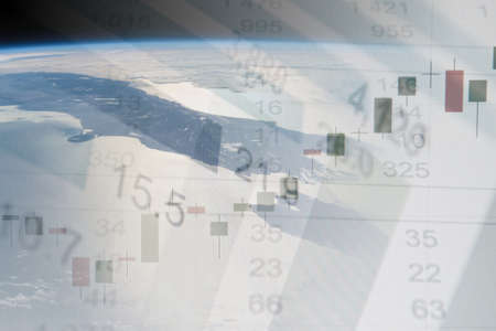 multilayered: Global business concept. Multi-layered image - earth with financial data.