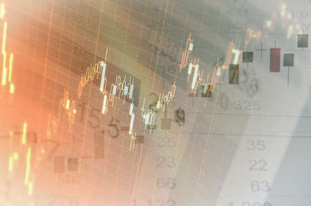 Close-up computer screen with financial data. Multiple exposure photo. Stock Photo