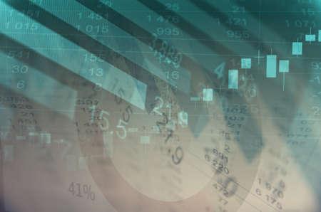 grafica de barras: Primer plano pantalla del ordenador con los datos financieros. foto de la exposición múltiple.