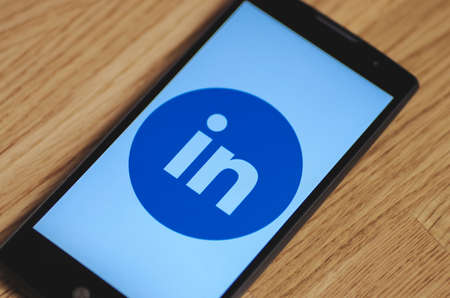 SARANSK, RUSSIA - March 23, 2016: Photo of LG Smartphone with LinkedIn logotype on the screen. Selective focus.