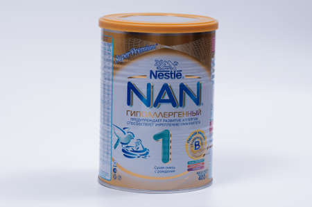 nestle: Saransk, Russia - April 2, 2016: Nestle NAN 400g Powder Can on a white background.