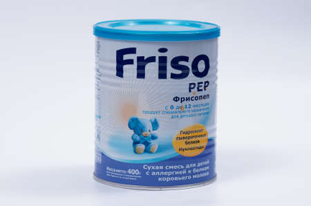 pep: Saransk, Russia - April 2, 2016: Friso PEP 400g Powder Can on a white background. Editorial