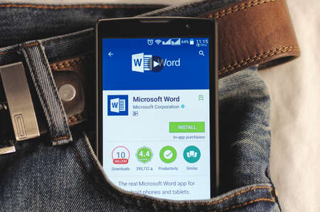 microsoft: SARANSK, RUSSIA - CIRCA 2016: Photo of Smartphone in a jeans pocket with Microsoft Word application in a Google Play Store on the screen. Editorial
