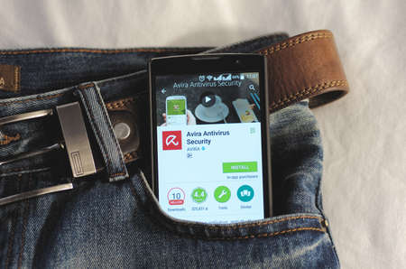 google play: SARANSK, RUSSIA - April 3, 2016: Photo of Smartphone in a jeans pocket with Avira antivirus application in a Google Play Store on the screen. Editorial