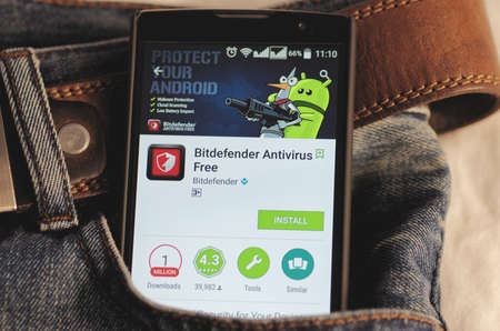 google play: SARANSK, RUSSIA - April 3, 2016: Photo of Smartphone in a jeans pocket with Bitdefender application in a Google Play Store on the screen. Editorial