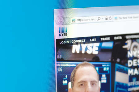 new york stock exchange: Saransk, Russia - CIRCA, 2016: A computer screen shows details of New York Stock Exchange main page on its web site Editorial