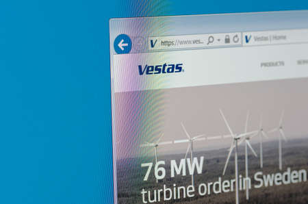vestas: Saransk, Russia - May 17, 2016: A computer screen shows details of Vestas main page on its web site Editorial