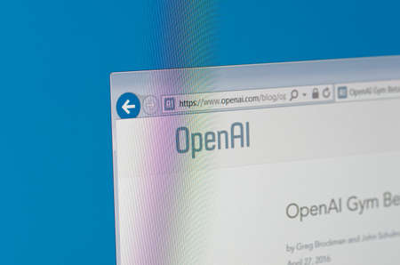 Saransk, Russia - May 17, 2016: A computer screen shows details of OpenAI main page on its web site