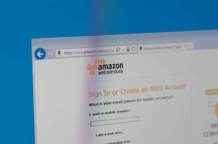web services: Saransk, Russia - May 17, 2016: A computer screen shows details of Amazon Web Services, Inc. main page on its web site