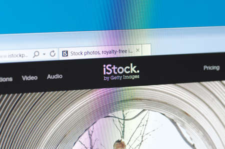 providers: Saransk, Russia - May 17, 2016: A computer screen shows details of iStock main page on its web site