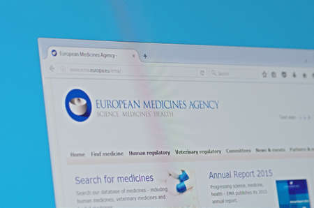 Saransk, Russia - May 18, 2016: A computer screen shows details of European Medicines Agency main page on its web site Redactioneel