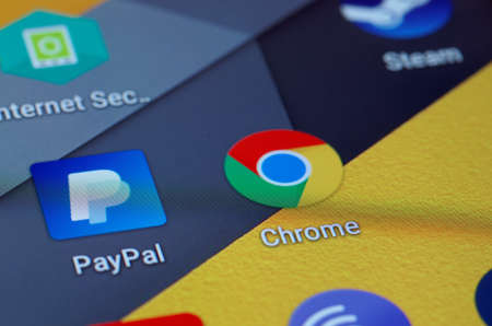 google chrome: SARANSK, RUSSIA - JUNE 04, 2016: A smartphone screen shows Google Chrome icon on the screen. Selective focus.