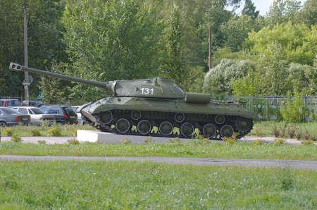 armory: GORODETS, NIZHNY NOVGOROD OBLAST, RUSSIA - AUGUST 15, 2016: Russian heavy tank. Second world war monument on Gorodets, Nizhny Novgorod Oblast, Russia.