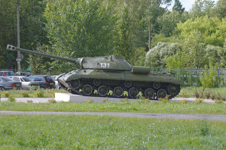 GORODETS, NIZHNY NOVGOROD OBLAST, RUSSIA - AUGUST 15, 2016: Russian heavy tank. Second world war monument on Gorodets, Nizhny Novgorod Oblast, Russia.