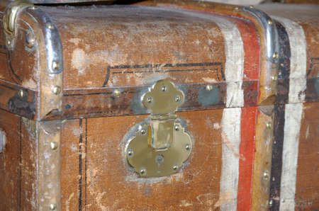 Old Brown used and weathered suitcase closeup