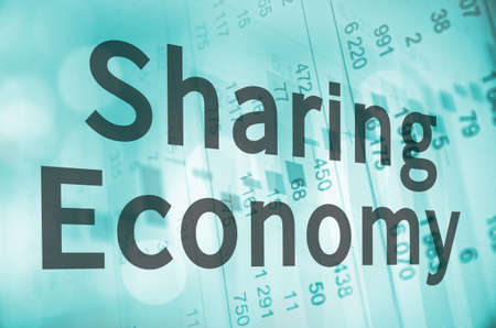 numbers clipart: Inscription Sharing Economy over financial background. Stock Photo